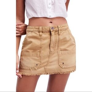 Free People Canvas Relaxed Mini Skirt in Taupe
